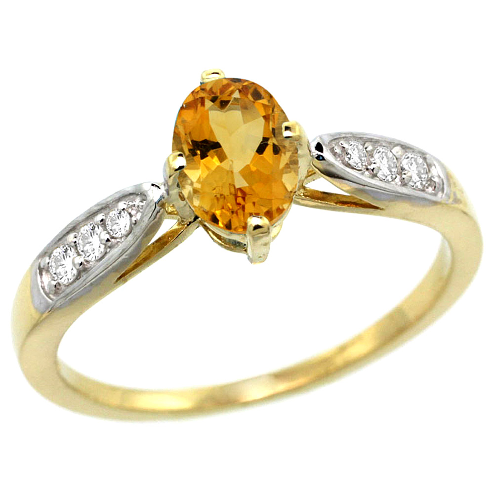 10K Yellow Gold Diamond Natural Citrine Engagement Ring Oval 7x5mm, sizes 5 - 10
