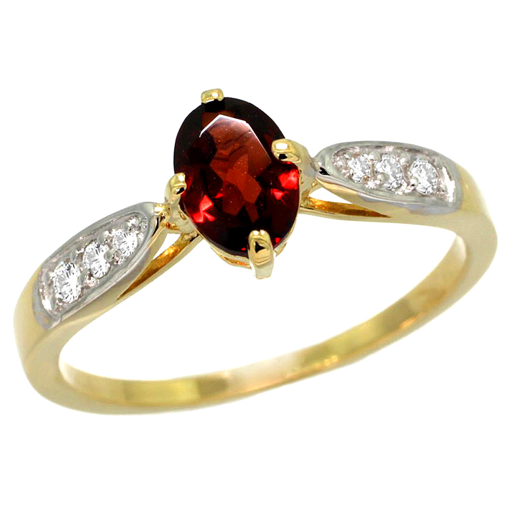 10K Yellow Gold Diamond Natural Garnet Engagement Ring Oval 7x5mm, sizes 5 - 10