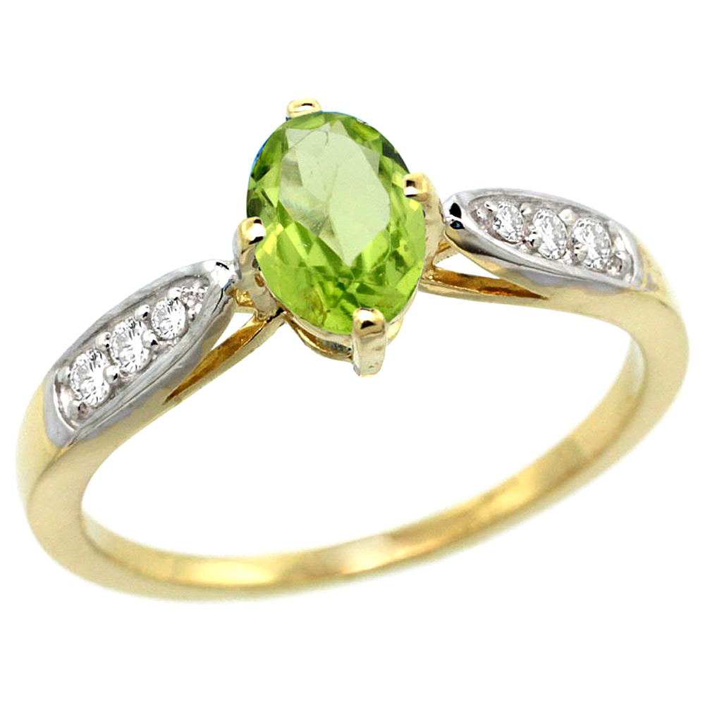 10K Yellow Gold Diamond Natural Peridot Engagement Ring Oval 7x5mm, sizes 5 - 10