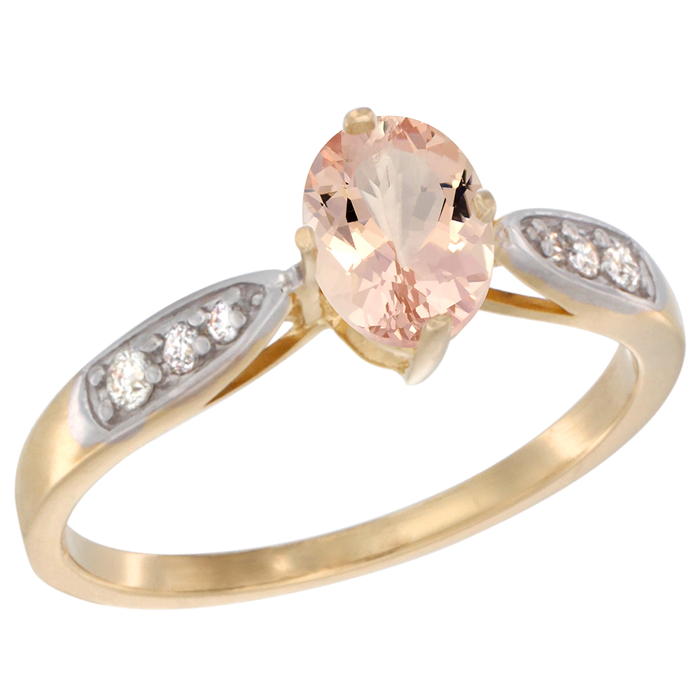 10K Yellow Gold Diamond Natural Morganite Engagement Ring Oval 7x5mm, sizes 5 - 10