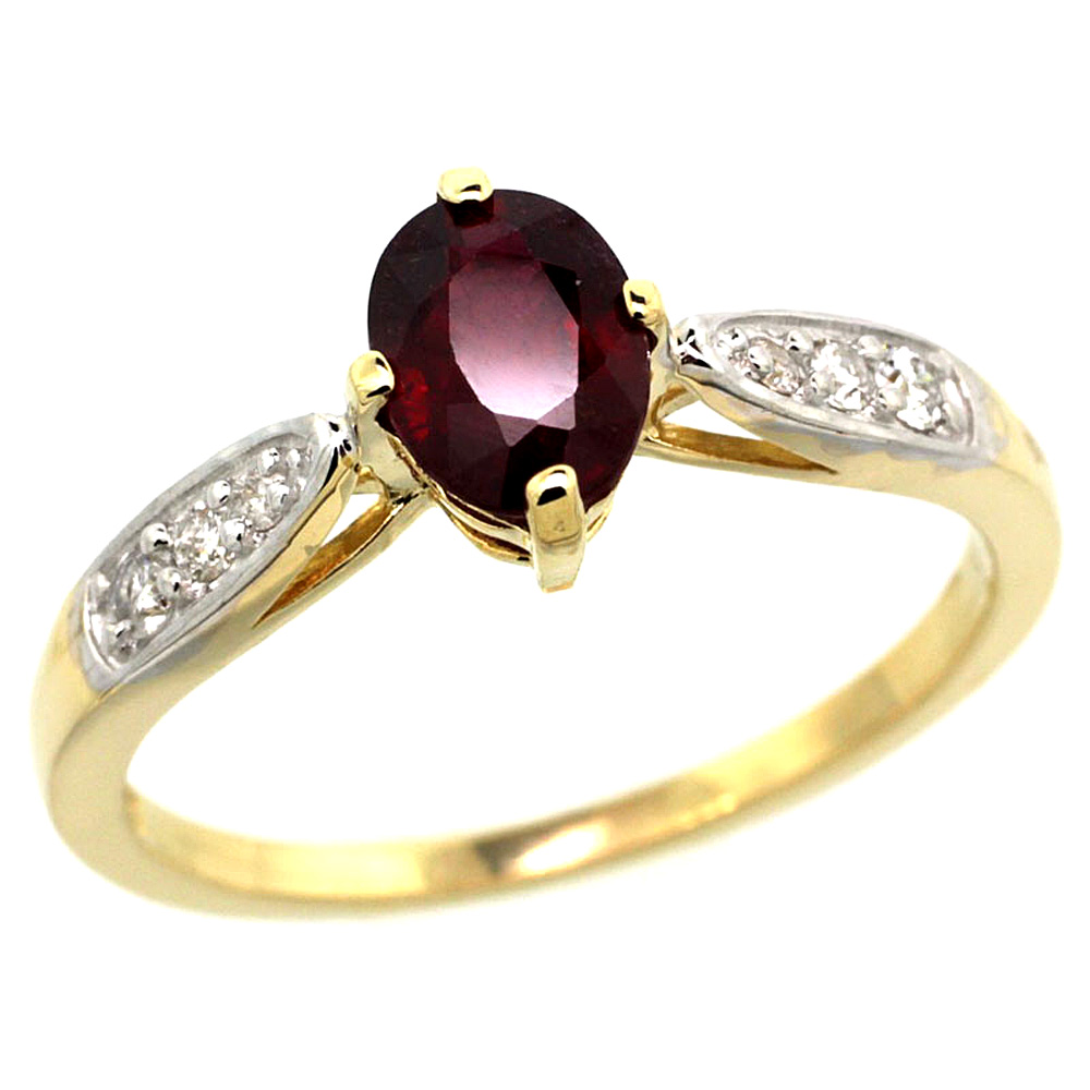 10K Yellow Gold Diamond Natural Enhanced Genuine Ruby Engagement Ring Oval 7x5mm, sizes 5 - 10