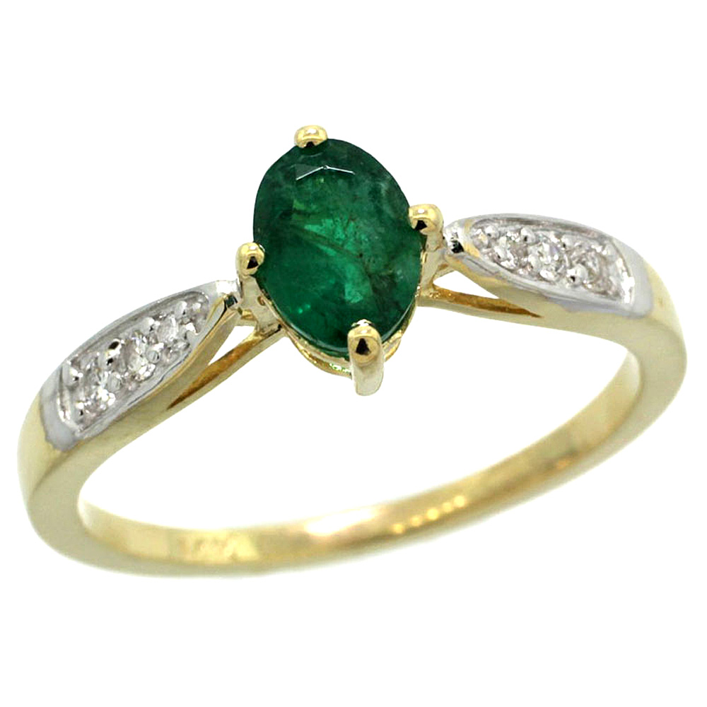 10K Yellow Gold Diamond Natural High Quality Emerald Engagement Ring Oval 7x5mm, sizes 5 - 10