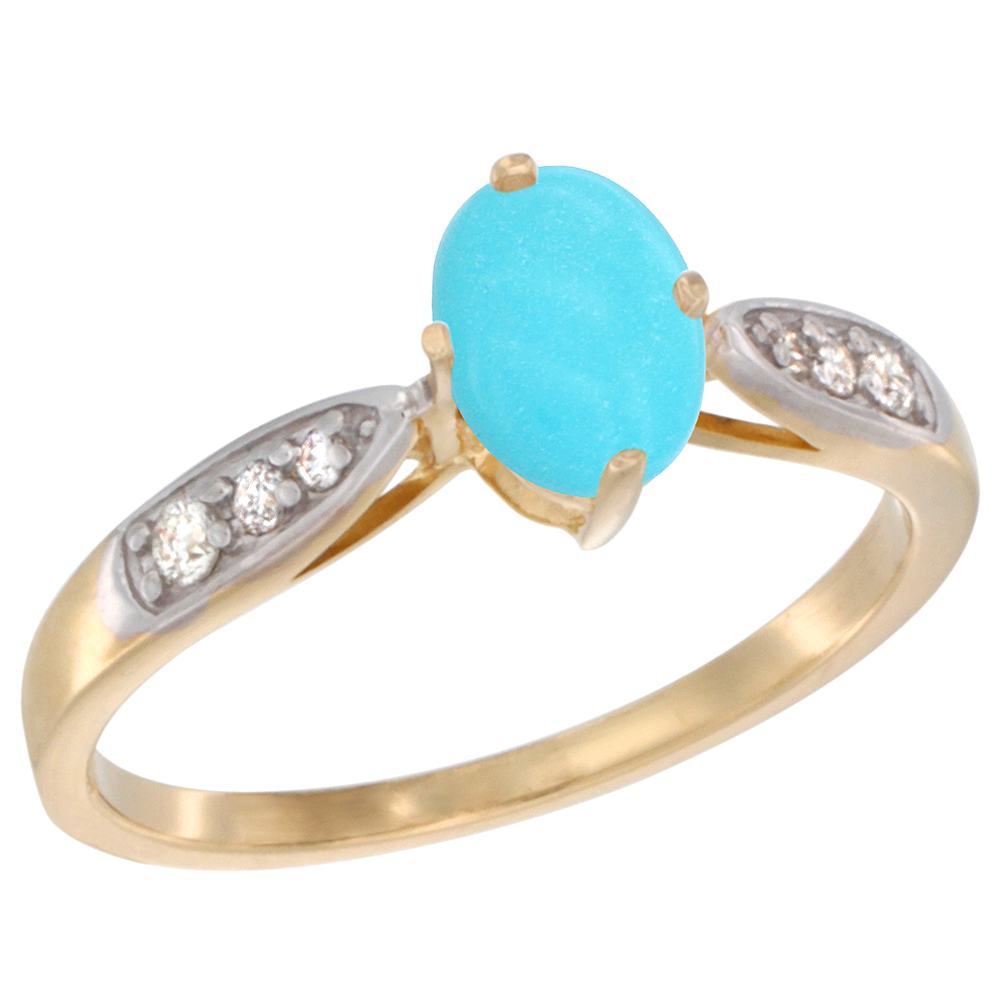 10K Yellow Gold Diamond Natural Turquoise Engagement Ring Oval 7x5mm, sizes 5 - 10