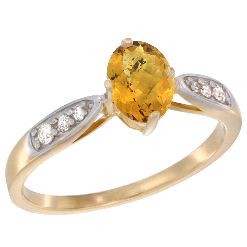 10K Yellow Gold Diamond Natural Whisky Quartz Engagement Ring Oval 7x5mm, sizes 5 - 10