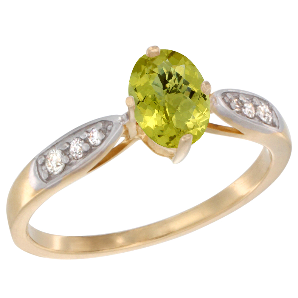 10K Yellow Gold Diamond Natural Lemon Quartz Engagement Ring Oval 7x5mm, sizes 5 - 10