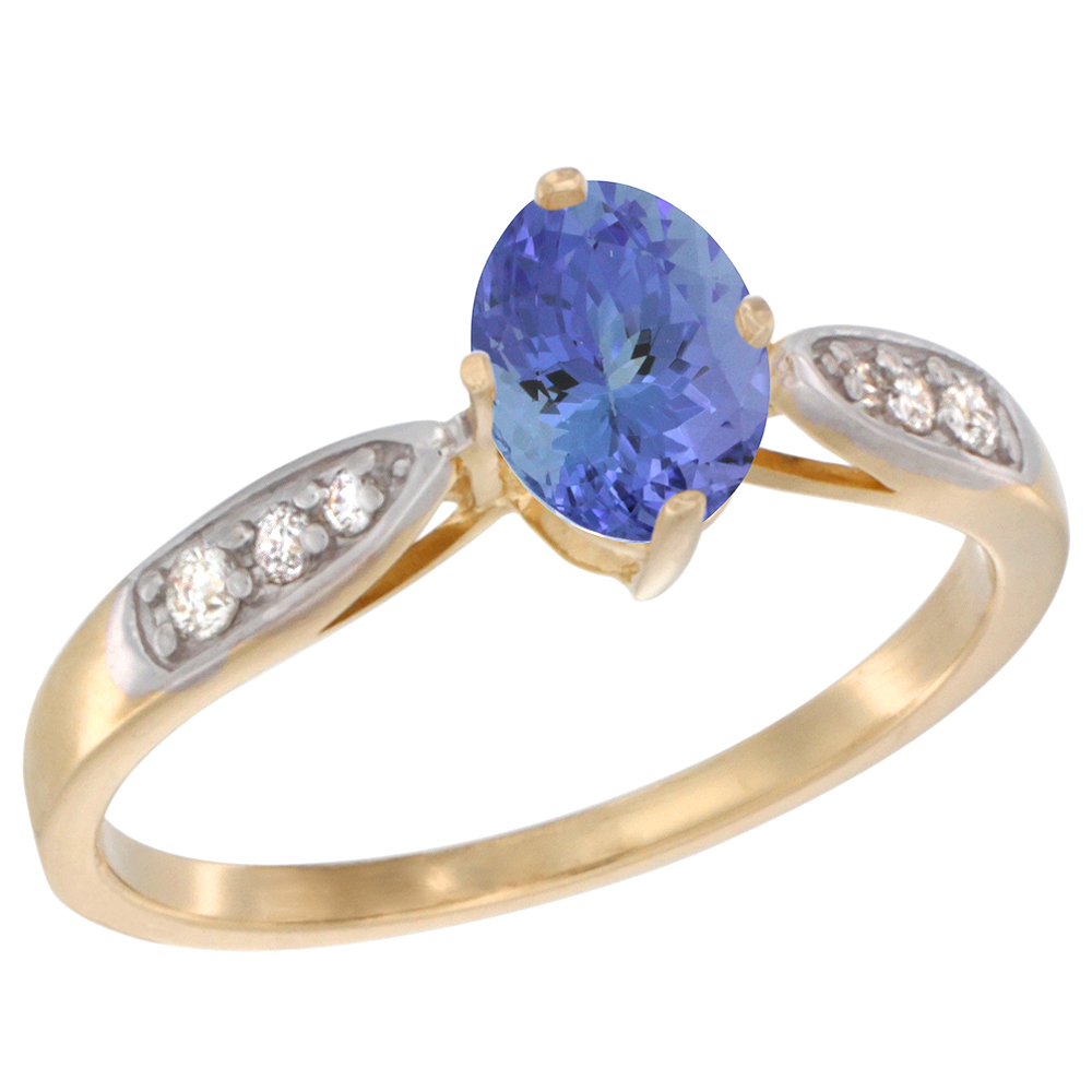 10K Yellow Gold Diamond Natural Tanzanite Engagement Ring Oval 7x5mm, sizes 5 - 10