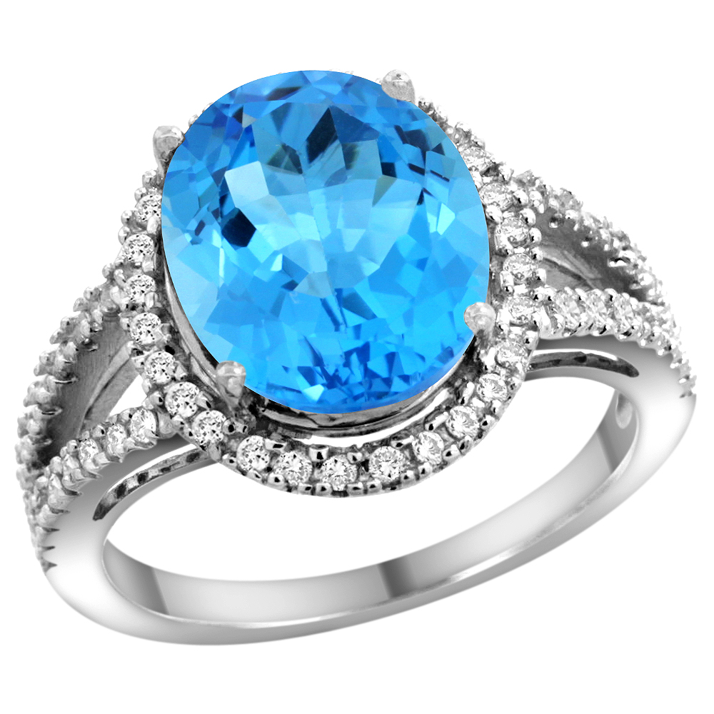 10K White Gold Natural Swiss Blue Topaz Ring Oval 12x10mm Diamond Accents, sizes 5 - 10