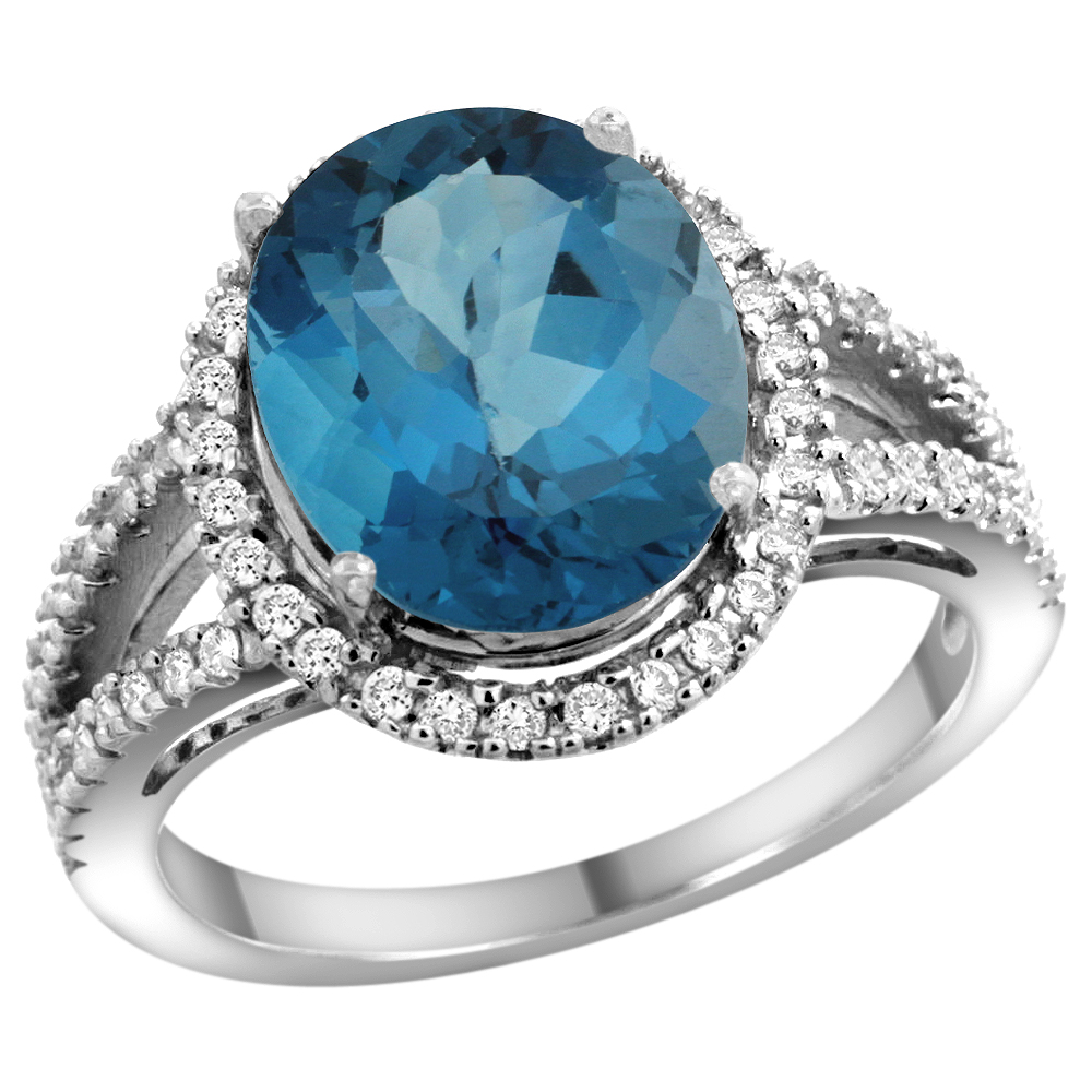 10K White Gold Natural London Blue Topaz Ring Oval 12x10mm Diamond Accents, sizes 5 - 10