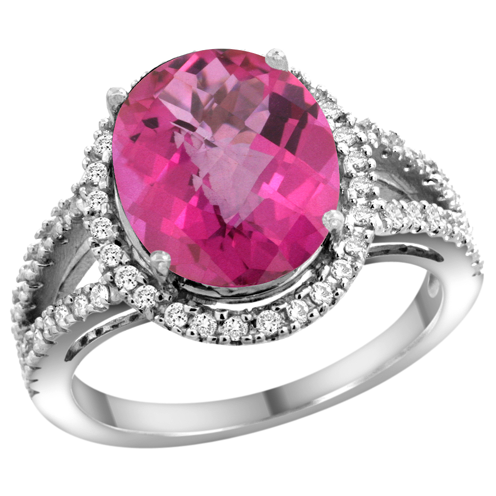 10K White Gold Natural Pink Topaz Ring Oval 12x10mm Diamond Accents, sizes 5 - 10