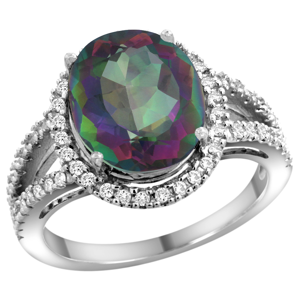 10K White Gold Natural Mystic Topaz Ring Oval 12x10mm Diamond Accents, sizes 5 - 10