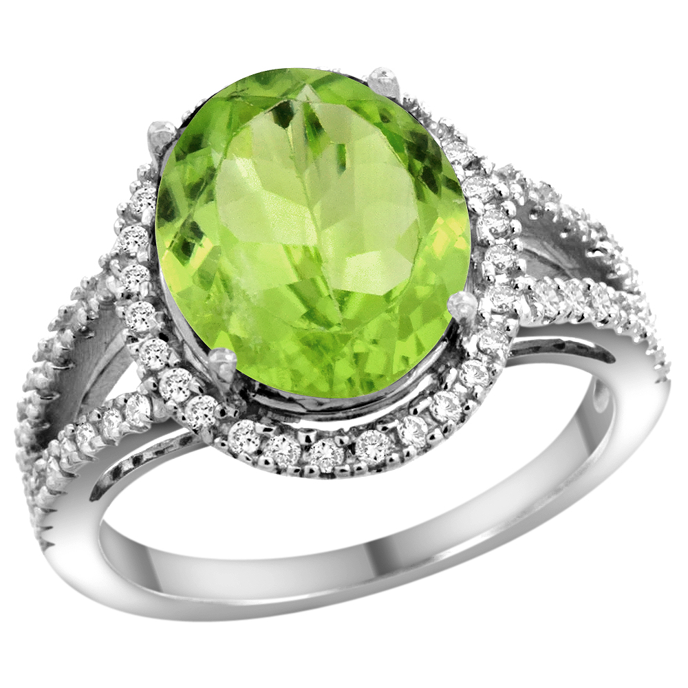10K White Gold Natural Peridot Ring Oval 12x10mm Diamond Accents, sizes 5 - 10