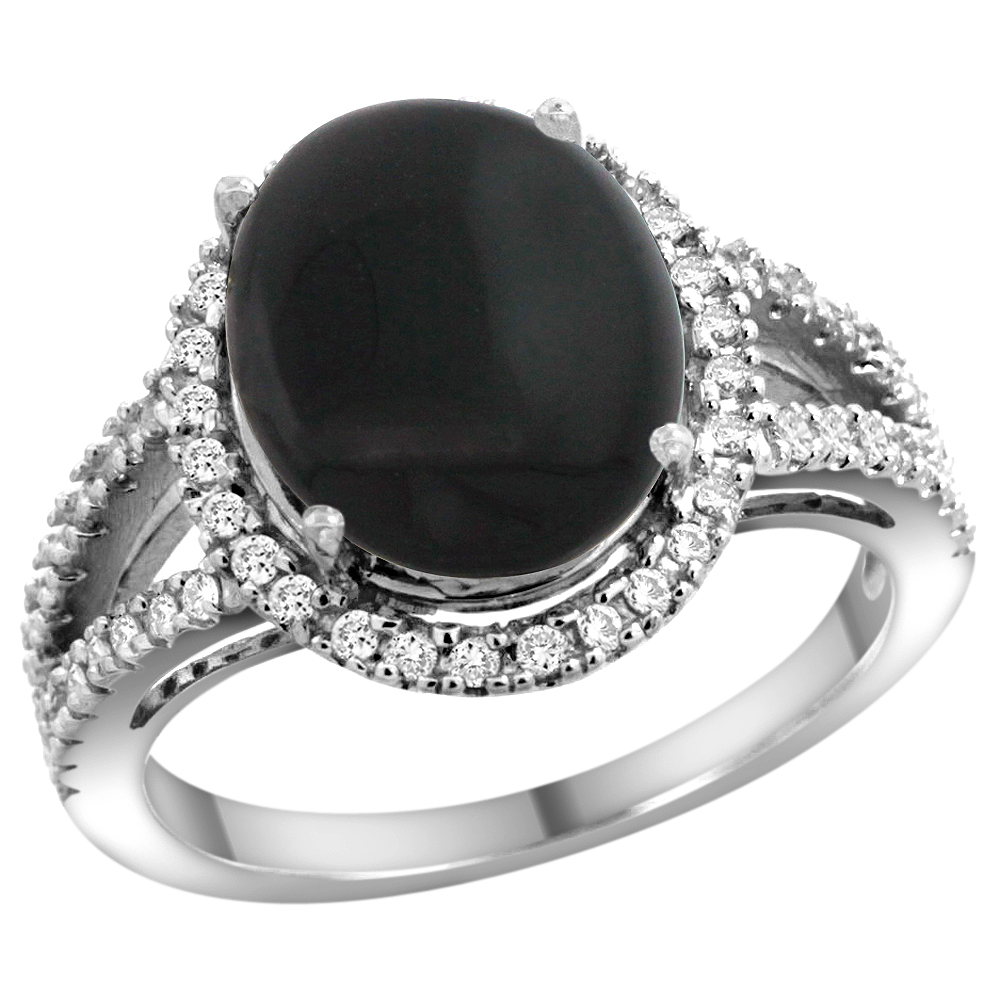 10K White Gold Natural Black Onyx Ring Oval 12x10mm Diamond Accents, sizes 5 - 10