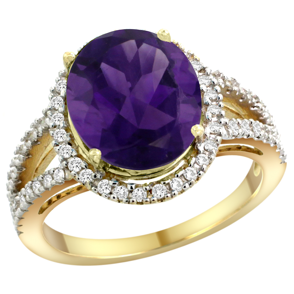 10K Yellow Gold Natural Amethyst Ring Oval 12x10mm Diamond Accents, sizes 5 - 10