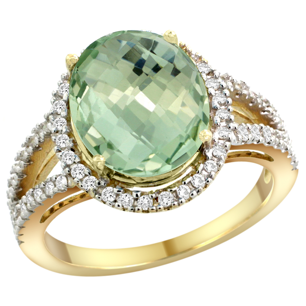 10K Yellow Gold Natural Green Amethyst Ring Oval 12x10mm Diamond Accents, sizes 5 - 10