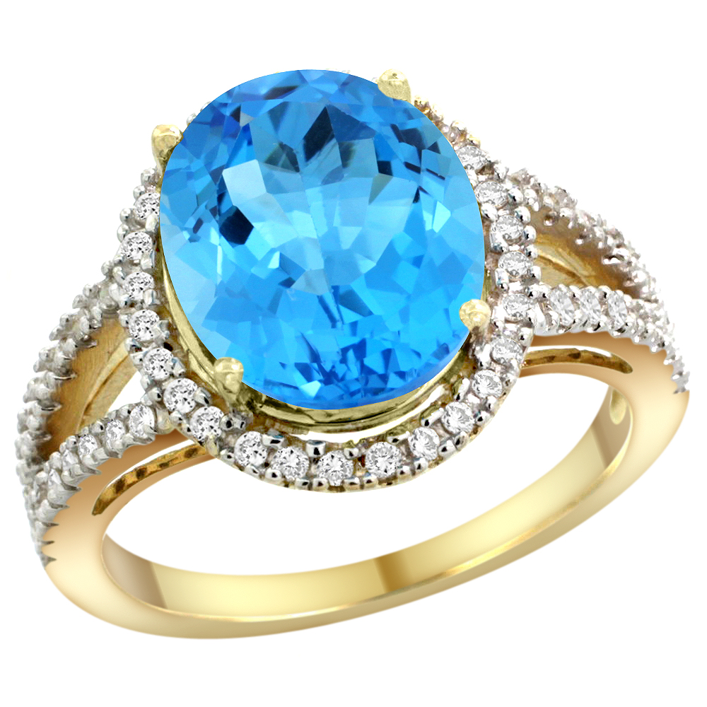10K Yellow Gold Natural Swiss Blue Topaz Ring Oval 12x10mm Diamond Accents, sizes 5 - 10