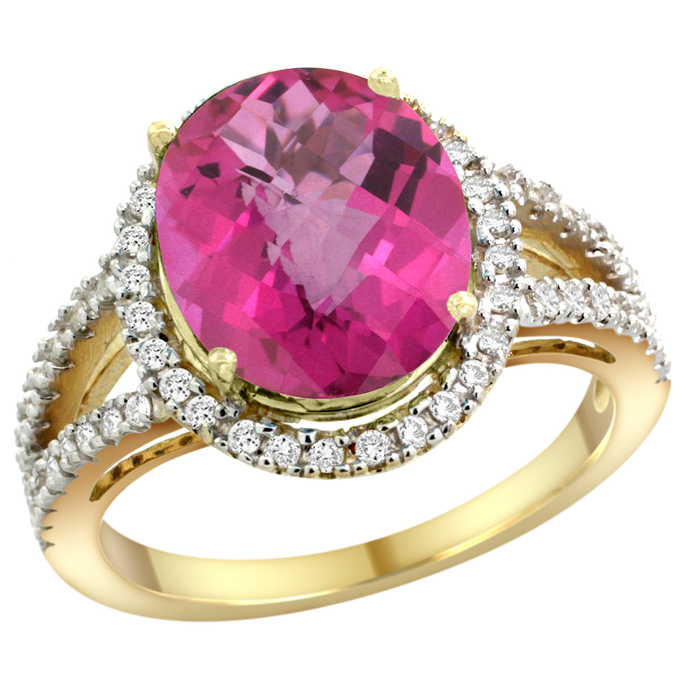10K Yellow Gold Natural Pink Topaz Ring Oval 12x10mm Diamond Accents, sizes 5 - 10