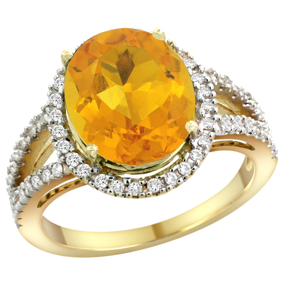 10K Yellow Gold Natural Citrine Ring Oval 12x10mm Diamond Accents, sizes 5 - 10