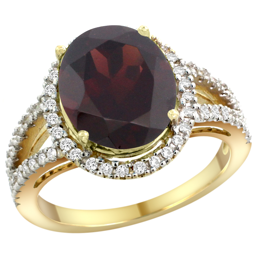 10K Yellow Gold Natural Garnet Ring Oval 12x10mm Diamond Accents, sizes 5 - 10