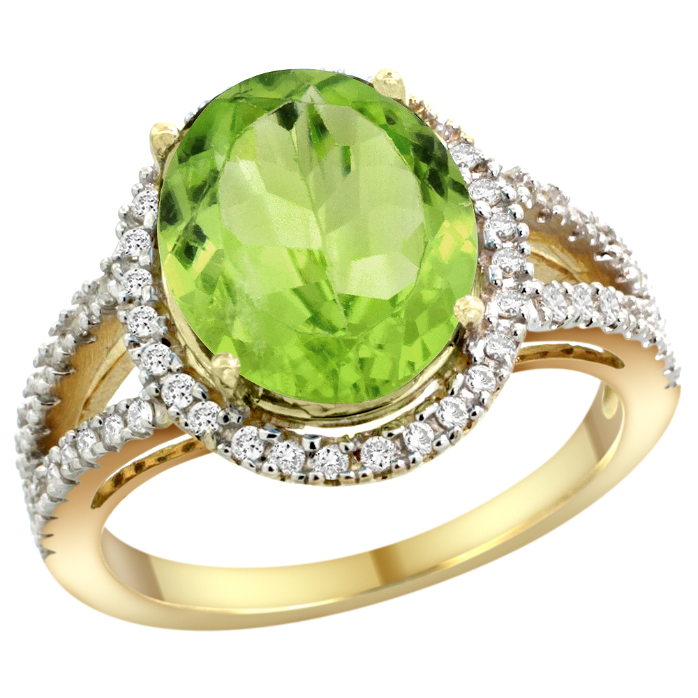 10K Yellow Gold Natural Peridot Ring Oval 12x10mm Diamond Accents, sizes 5 - 10