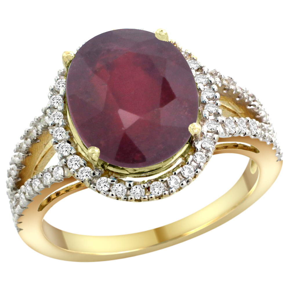 10K Yellow Gold Enhanced Ruby Ring Oval 12x10mm Diamond Accents, sizes 5 - 10