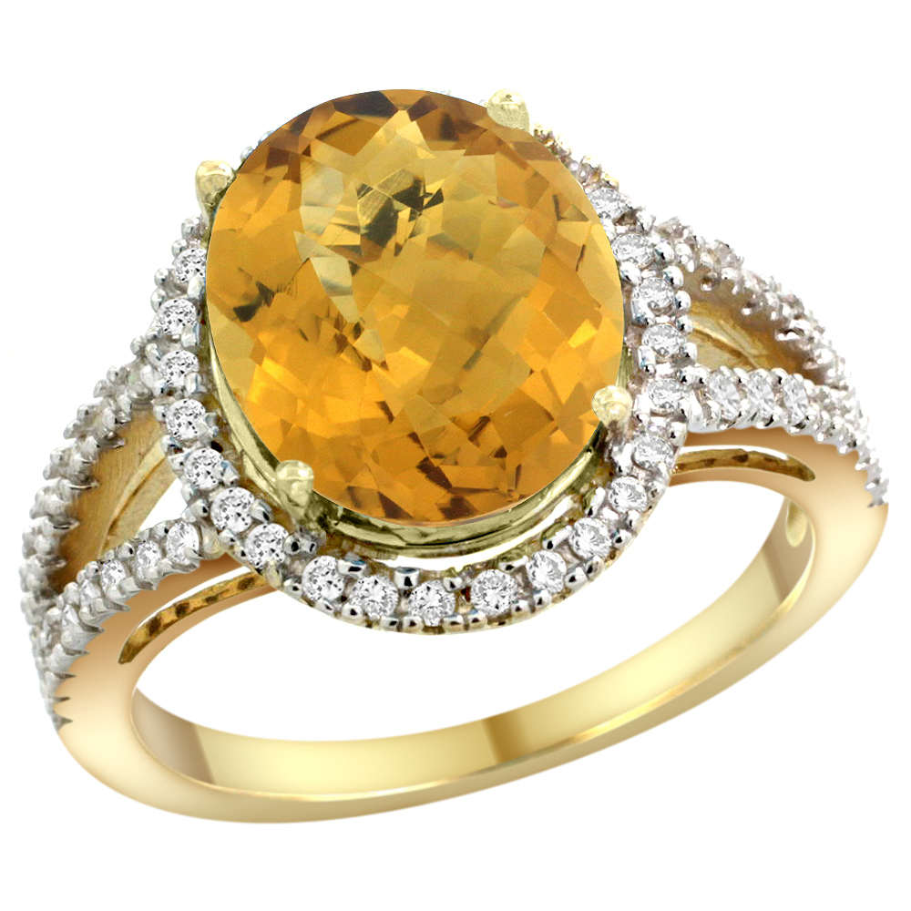 10K Yellow Gold Natural Whisky Quartz Ring Oval 12x10mm Diamond Accents, sizes 5 - 10