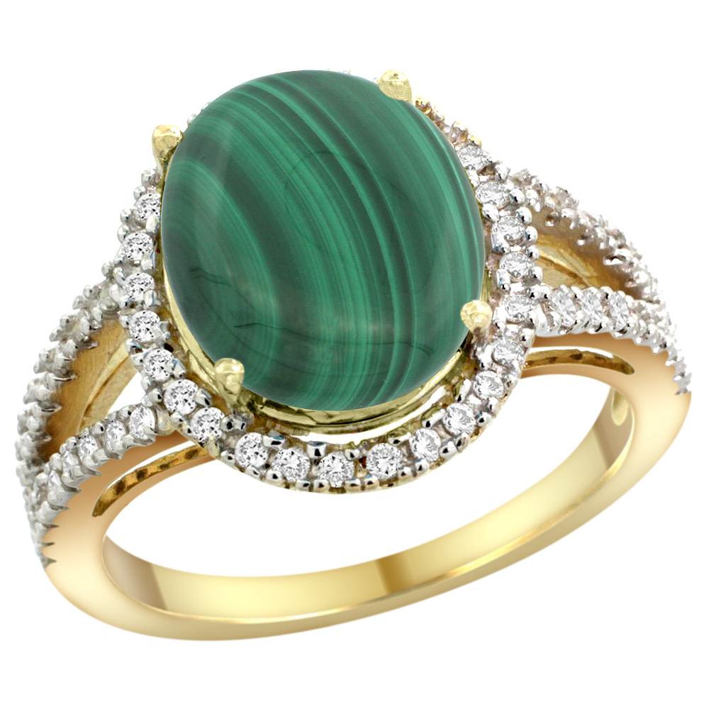 10K Yellow Gold Natural Malachite Ring Oval 12x10mm Diamond Accents, sizes 5 - 10