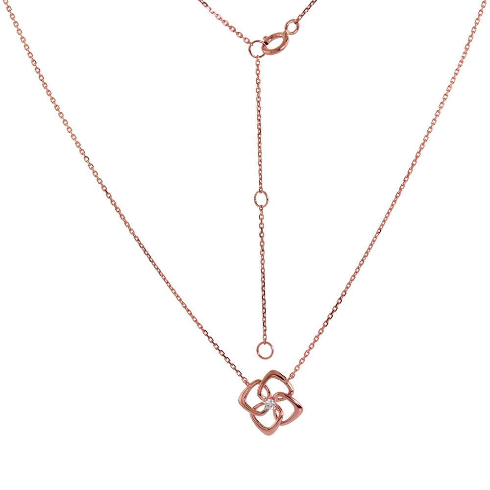 Dainty 14k Rose Gold Diamond Quatrefoil Necklace 16-18 inch 0.03 cttw