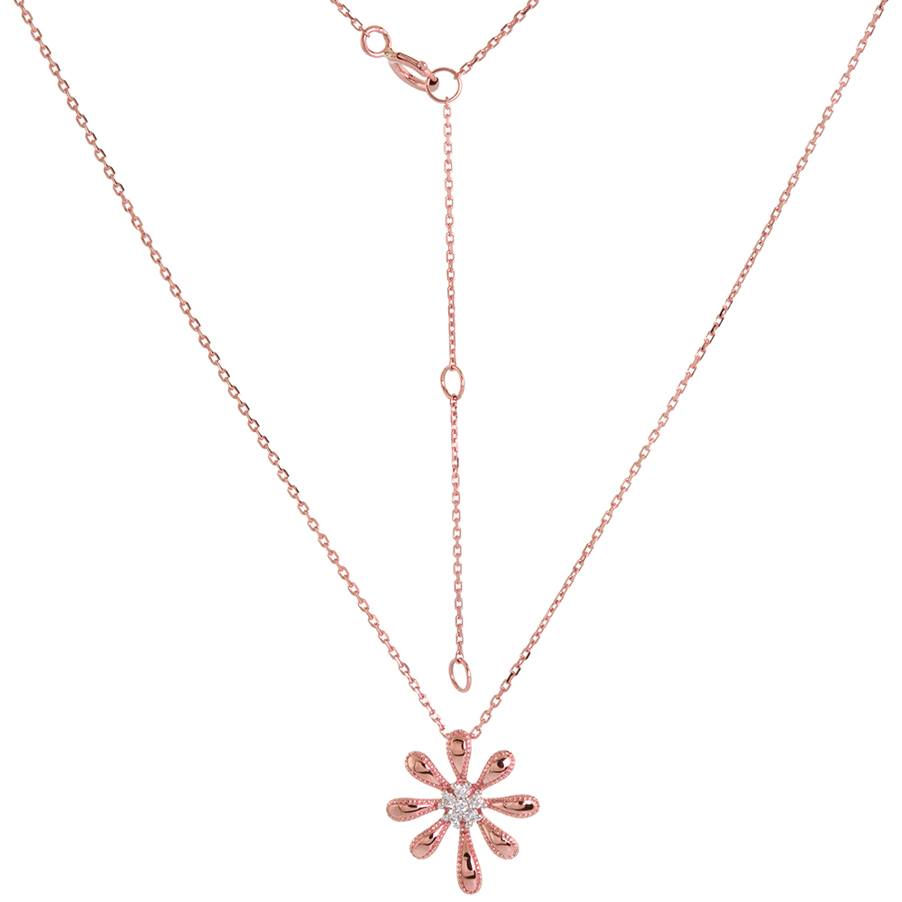 Dainty 14k Rose Gold Diamond Daisy Flower Necklace 16-18 inch 0.05 cttw