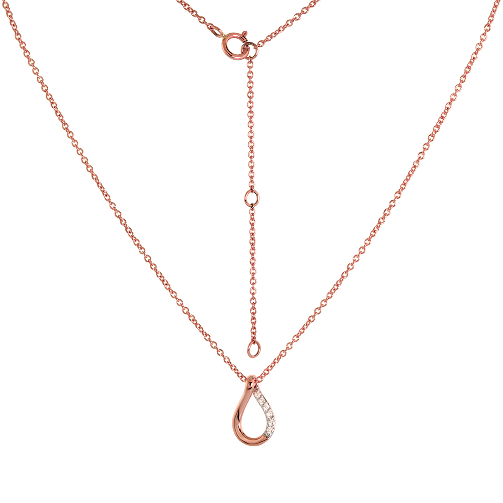 Dainty 14k Rose Gold Diamond Teardrop Necklace 16-18 inch 0.04 cttw