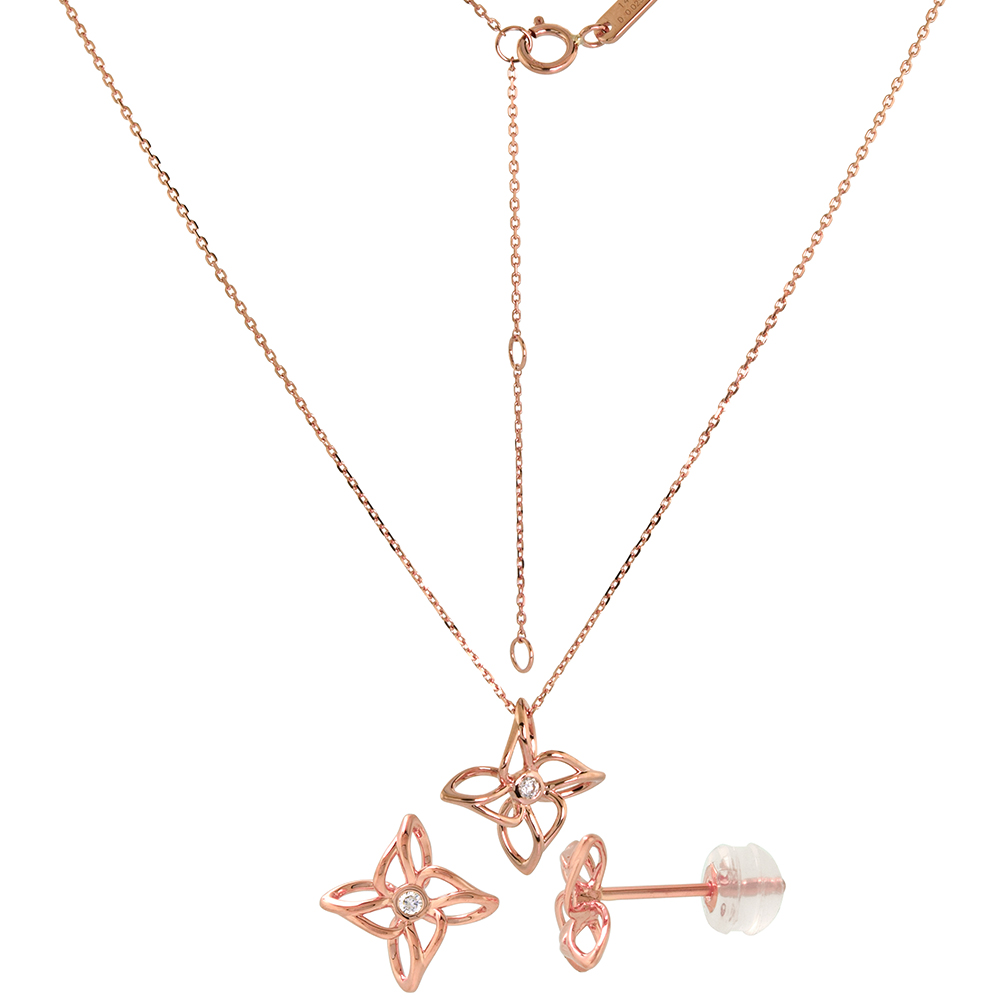Tiny 14k Rose Gold Diamond Flower Earrings and Necklace Set 0.06 cttw