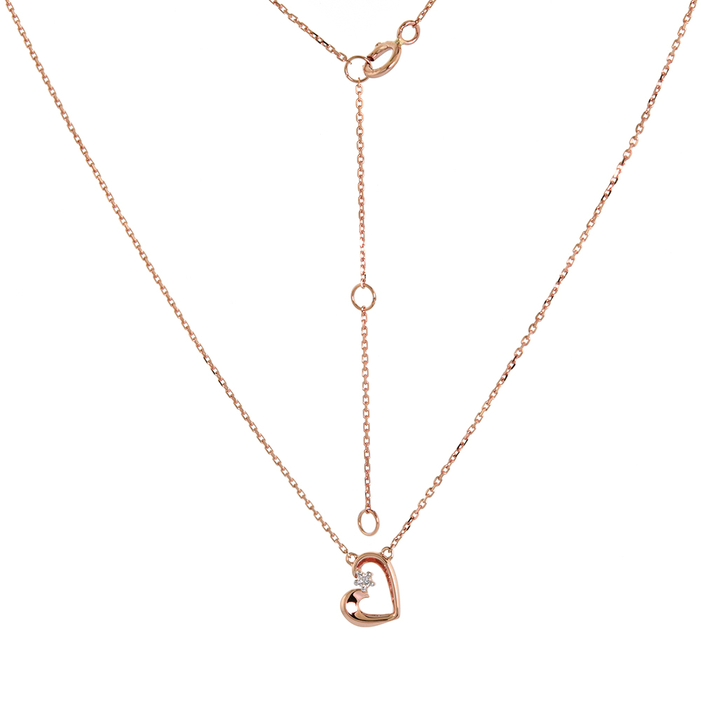 Dainty 14k Rose Gold Diamond Heart Necklace 16-18 inch