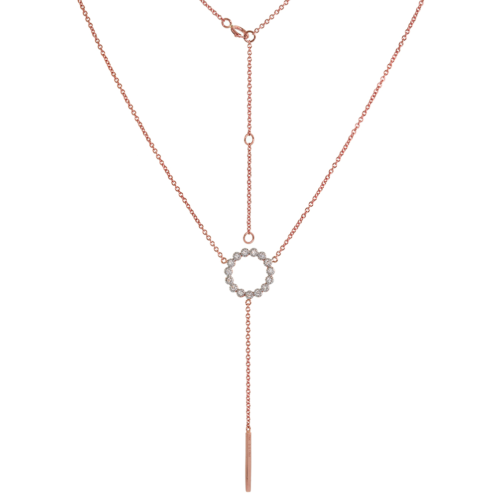 14k Rose Gold Diamond Circle Y Necklace Karma Circle of Life 16-18 inch