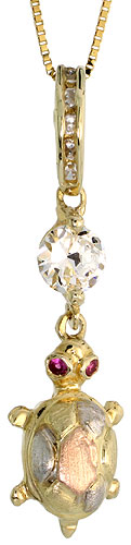 10k Gold CZ Turtle Necklace 3-tone 1 1/4 high, 18 inch