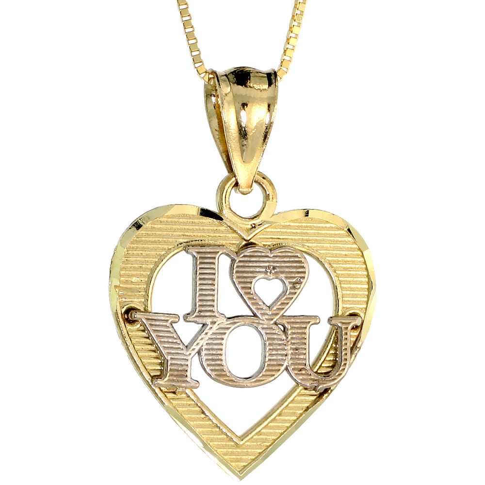 10k Gold Heart I Love You Necklace 2-tone 3/4 high, 18 inch