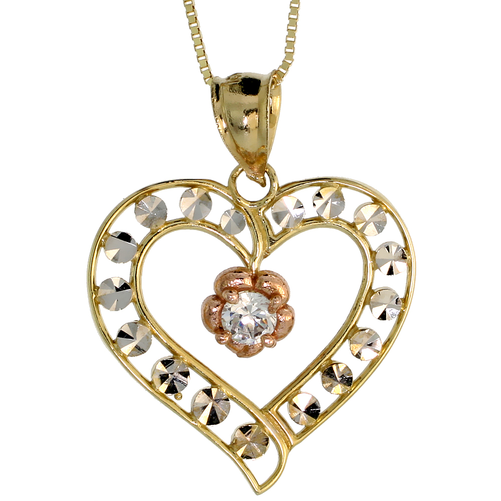 10k Gold Heart Cut Out Necklace 3/4 high, 18 inch