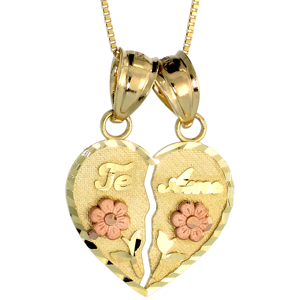 10k Gold Heart Te Amo Lovers Necklace 3/4 high, 18 inch