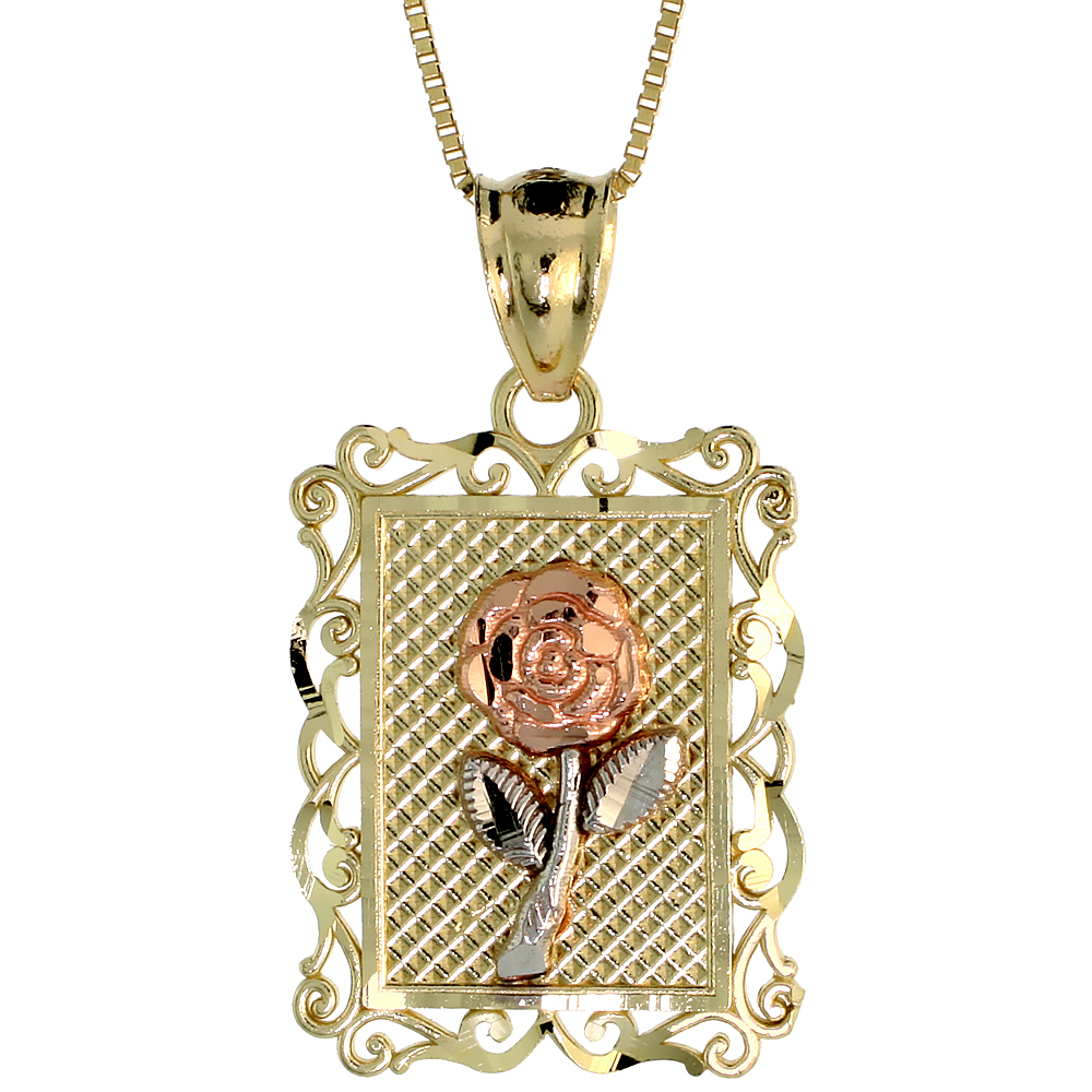 10k Gold Rose Flower on Frame Necklace 3/4 high, 18 inch