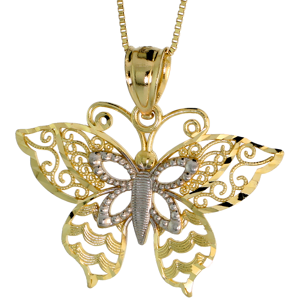 10k Gold Filigree Butterfly Necklace 2-tone 3/4 high, 18 inch