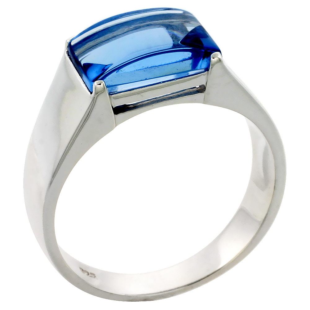 Mens Sterling Silver Blue Topaz Cubic Zirconia Ring Cabochon Stone, sizes 8 to 13