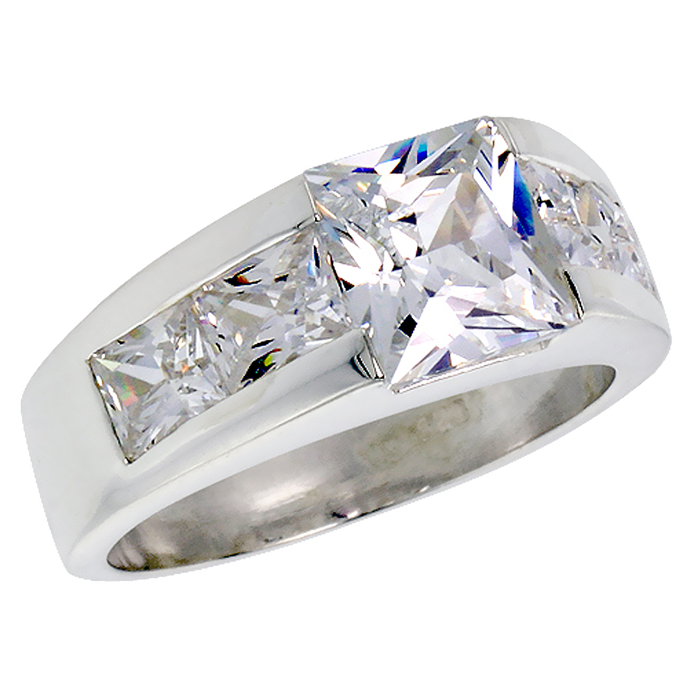 Mens Sterling Silver Cubic Zirconia Ring Princess Cut 3 ct Center 4 side stones, sizes 8 to 13
