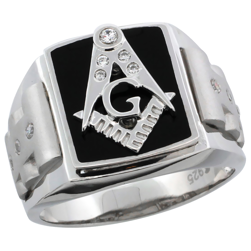 Mens Sterling Silver Black Enamel Masonic Ring CZ Stones & Frosted Sides, 5/8 inch wide