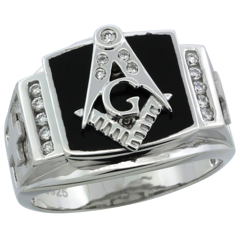 Mens Sterling Silver Black Onyx Masonic Ring CZ Stones & Frosted Crosses on Sides, 19/32 inch wide