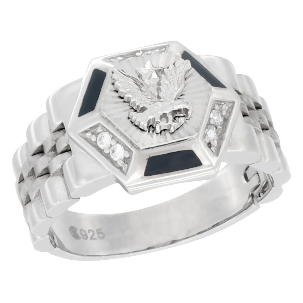 20mm 13//16 in. size 9 Sterling Silver Mens Jesus Christ Ring w// Brilliant Cut CZ Stones wide