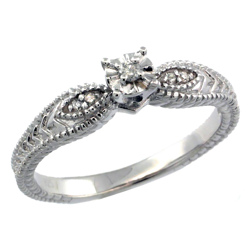 Sterling Silver Diamond Vintage Style 5-Stone Engagement Ring Rhodium Finish, sizes 5 to 10