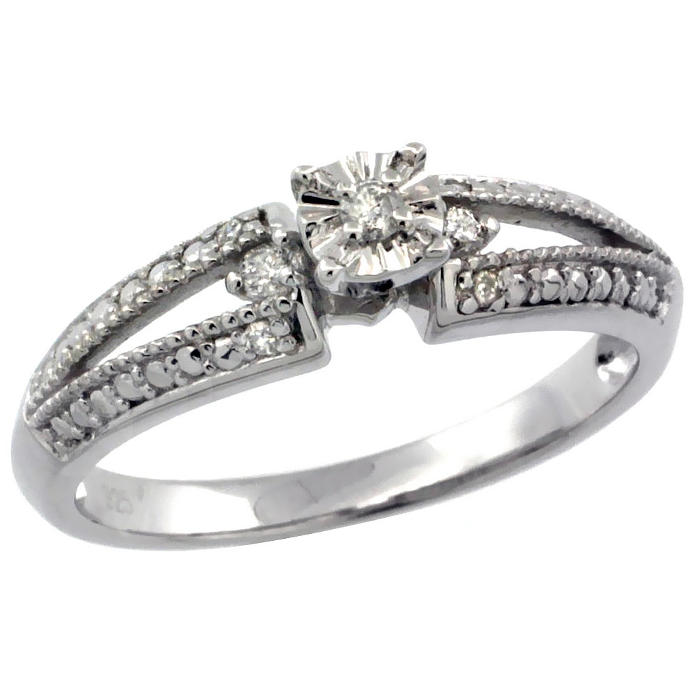 Sterling Silver Diamond Vintage Style 7-Stone Engagement Ring Rhodium Finish, sizes 5 to 10
