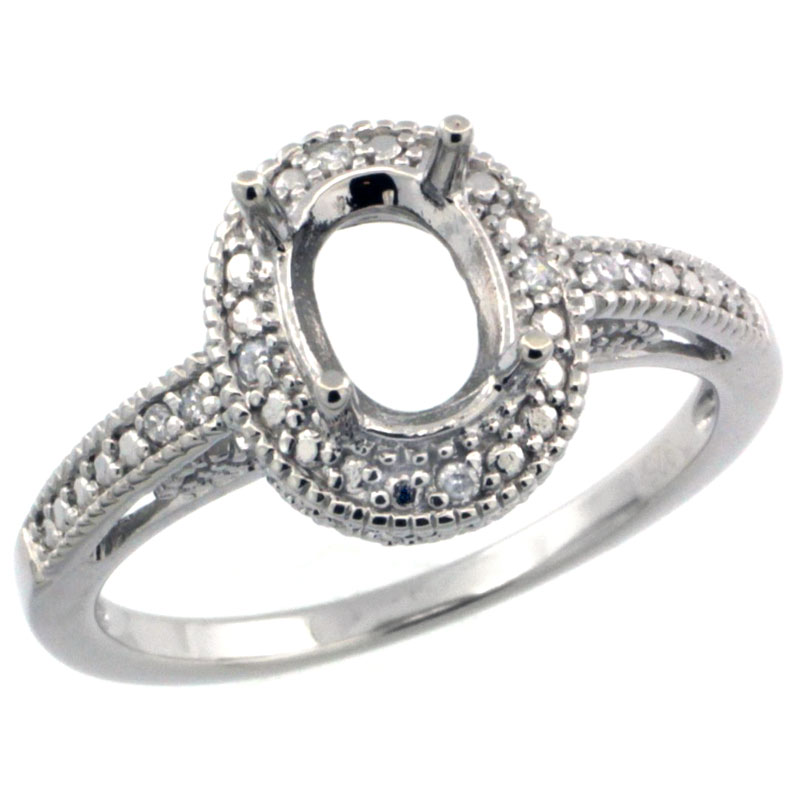 Sterling Silver Diamond Vintage Style Semi-Mount (8x6 mm Oval Stone Ring w/ 0.063 Carat Brilliant Cut ssizes 5 to 10