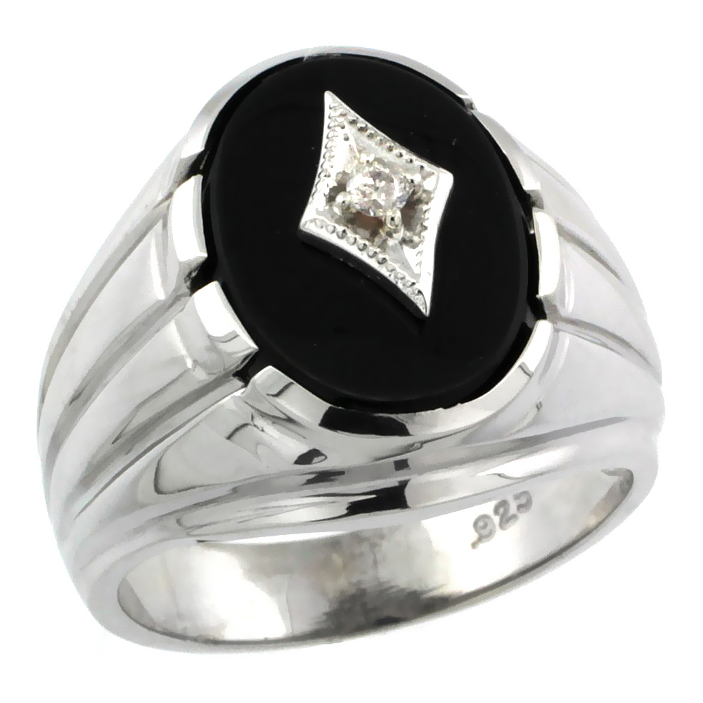 Sterling Silver Gentu0027s Black Onyx Ring Diamond Center Oval Shape Rhodium  Finish, Sizes 8 To 13