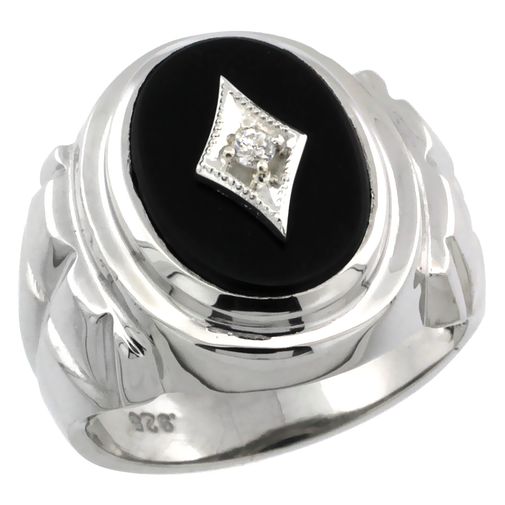 Sterling Silver Gent's Black Onyx Ring Diamond Center Oval Shape Rhodium Finish, sizes 8 to 13