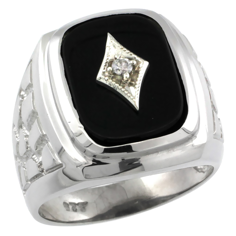 Sterling Silver Diamond Gent's Black Onyx Ring Diamond Center rectangular Shape Rhodium Finish, sizes 8 to 13