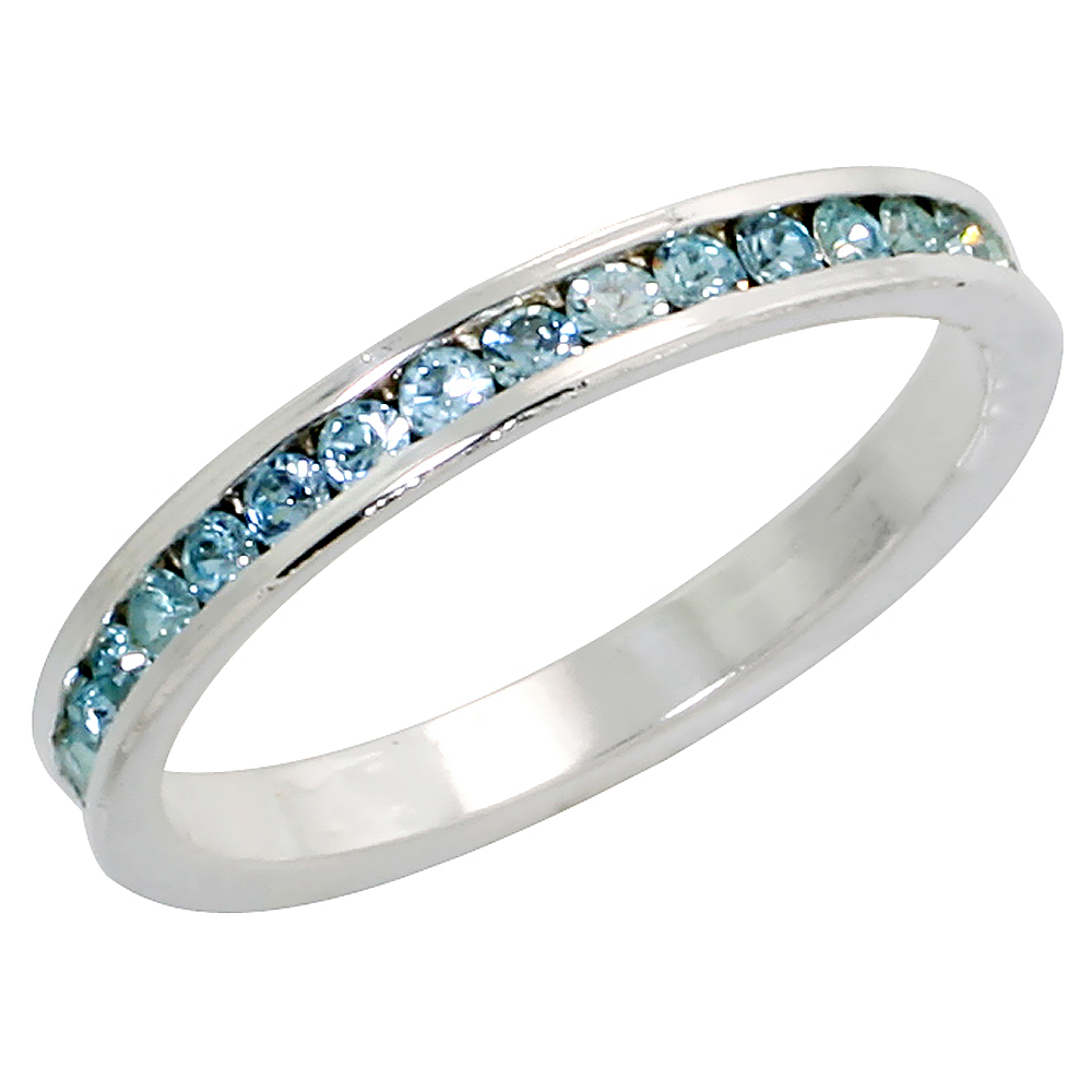"Sterling Silver Stackable Eternity Band, March Birthstone, Aquamarine Crystals, 1/8"" (3 mm) wide"